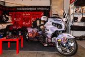 Motopark-2015 (BikePark-2015). The exhibition stand of the studio GL-Audio. Tricycle (Trike) Honda. — Stock Photo