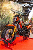 Motopark-2015 (BikePark-2015). The exhibition stand with motorcycle Racer Forester RC200LT. — Stock Photo