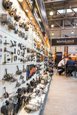 Motopark-2015 (BikePark-2015). The exhibition stand of MotoLand. The stand with spare parts. — Stock Photo