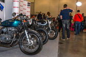 Motopark-2015 (BikePark-2015). The exhibition stand with motorcycles. — Stock Photo