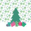 Greeting card with gift boxes under the Christmas tree — Stock Vector #61247851