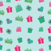 Pattern of boxes with gifts — Vector de stock