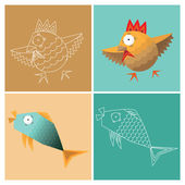 Stylized fish and poultry, the image and the contour — Stock Vector