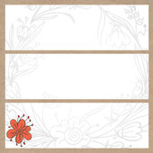 Banner doodle flowers on kraft texture — Stock Vector
