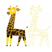 Giraffe and contour — Stock Vector