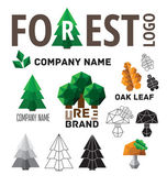 Set of logos forest — Vetorial Stock