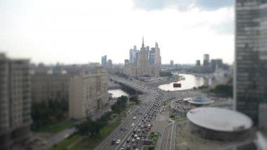 Moscow city New Arbat street road traffic — Stock Video