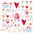 Love background made of red hearts, flowers.Seamless pattern can be used for wallpaper, pattern fills, web page background, postcards. — Stock Photo #51916063