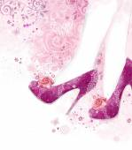 Fashionable Pink high heel women shoes on pink background with flowers. Fashion background.Shopping — Stock Photo