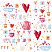 Love background made of red hearts, flowers.Seamless pattern can be used for wallpaper, pattern fills, web page background, postcards. — Stock Photo