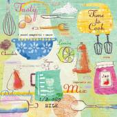 Seamless pattern with kitchen items.Stylish design elements:fork, spoon, bowl, mixer, lemon, knife and others.Food background. — Stock Photo