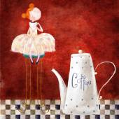 Cute red-head girl with cup of coffee sitting on the chair in the dark red background with big teapot. Print for kitchen, for cafe, for home. Coffee time. — Stock Photo