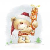 Cute teddy bear with the big red gift in the Santa hat.Childish illustration in sweet colors.Background with bear and gift. Hand drawn teddy bear.Christmas greeting card. — Stock Photo