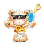 Cute Teddy bear with the cocktail in the summer glasses and Hawaiian shirt   Background with bear and cocktail . Hand drawn teddy bear isolated on white — Stock Photo