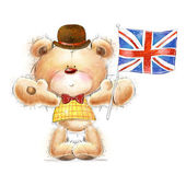 Cute Teddy bear with the  UK flag in the hat. Background with bear and flag. Hand drawn teddy bear isolated on white background.Greeting card with cute Teddy — Stock Photo