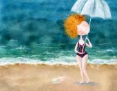 Cute red-head girl with umbrella and little pig on the beach. Sea background.Wallpaper for girl's room, for magazine. — Stock Photo