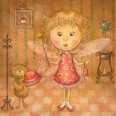 Cute fairy.Cute girl with teddy bear.Children illustration.Children room. — Stock Photo