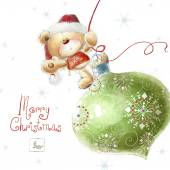 Cute teddy bear with the big Christmas tree toy  in the Santa hat.Childish illustration in sweet colors.Background with bear and toy. Hand drawn teddy bear.Christmas — Stock Photo