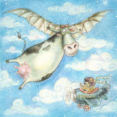 Cute flying cow.Vintage background.Children illustration. Cartoon childish background in vintage colors. — Stockfoto