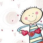 Je t'aime carte postale. garçon mignon avec le cœur. carte de voeux Saint Valentin. fond de l'amour. illustration de l'amour. garçon souriant avec un cœur entre les mains — Photo #53051567