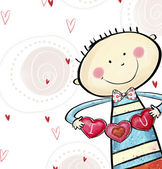 I love you postcard. Cute boy with the hearts. Valentine's day greeting card. Love background. Love illustration. Smiling boy with hearts in the hands. — Foto de Stock