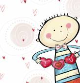 I love you postcard. Cute boy with the hearts. Valentine's day greeting card. Love background. Love illustration. Smiling boy with hearts in the hands. — Stock Photo
