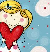 I love you postcard. Cute  girl with the big heart. Valentine's day card.Happy mothers day. Love background. Love illustration. — Stock Photo