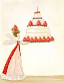 Tea time template design.Bright summer outlines made from tea things. Let's tea! Birthday cake.Strawberry's fairy with the cake.Children illustration.Wallpaper for magazine, for book, for cafe — Zdjęcie stockowe