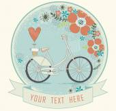 Vintage romantic love card in vector. Gentle romantic love illustration with bicycle , flowers and  heart. Seamless pattern can be used for wallpapers, pattern fills, web page backgrounds, surface — Stok Vektör