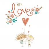 Romantic concept. Loving boy and girl with red heart.Love couple.Vector illustration. — Stock Vector