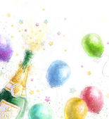 Champagne party. Celebration theme with splashing champagne balloons and stars.Happy Birthday.New Year.Party invitation.Birthday greeting card. — Stock Photo