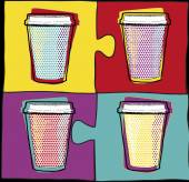 Cups in Pop Art style.Coffee drinking cups.Vector illustration.Party.Hot drinks. — Vector de stock