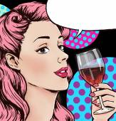 Pop Art illustration of woman with the glass of wine with speech bubble.Pop Art girl. Party invitation. Birthday greeting card. — Stock Photo