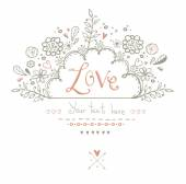 Beautiful  Love card in vintage style. Delightful wedding invitation with romantic elements: flowers, hearts and others in vector .Save the Date design.Love background. — Stock Vector