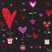 Love background made of red hearts, flowers.Seamless pattern can be used for wallpaper, pattern fills, web page background, postcards. — Stock Vector