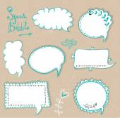 Speech bubbles set.Retro speech bubbles on the grungy background. Vector Illustration. — Vecteur