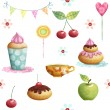 Happy Birthday pattern made of cupcake,cherry, apple, candies,flowers.Birthday background.Party background. — Stock Photo #64826819