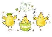 Happy easter wenskaart. Schattig kip met tekst in stijlvolle kleuren. Concept vakantie voorjaar cartoon wenskaart. Heilwens met Pasen — Stockfoto