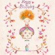 Awesome Happy birthday card in cartoon style. Cute small princess with cup of tea in flowers, hearts, birds. Childish card in sweet colors.Little Princess.Birthday greeting card.Party invitation. — Stock Photo #67239163