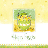 Happy easter greeting card. Cute chicken with text in stylish colors. Concept holiday spring cartoon greeting card.Congratulation with Easter — Stock Photo