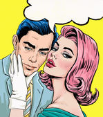 Love couple.Pop Art Couple.Pop Art love. Valentines day postcard. Hollywood movie scene. Love Pop Art illustration Pop Art love. Valentines day postcard. Real love. Movie poster. Comic book love. — Stock Photo