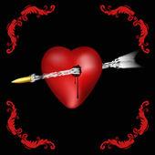 Heart pierced — Stock Vector