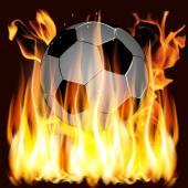 Fiamme e pallone da calcio — Vettoriale Stock