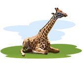 Tired giraffe — Vector de stock