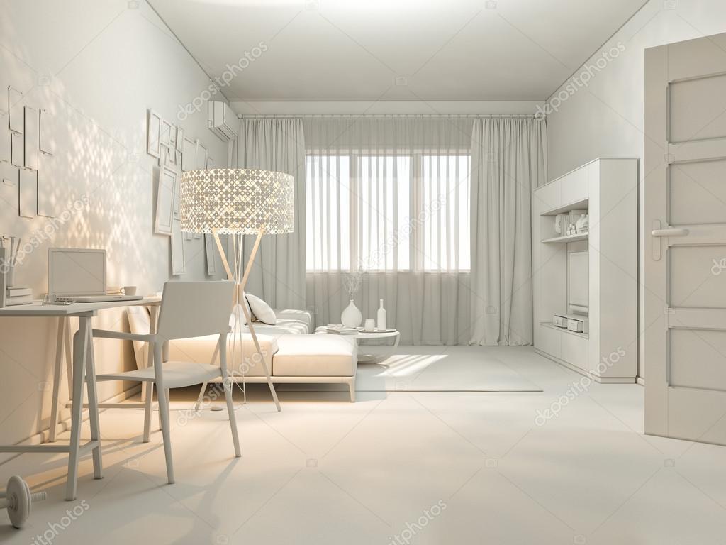 3D-visualisering av inredning som bor i en lägenhet ...