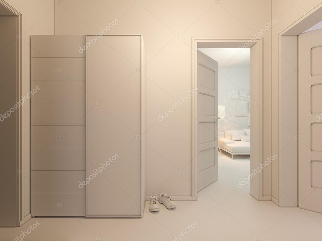 3D visualization of interior design entrance hall in a studio ...