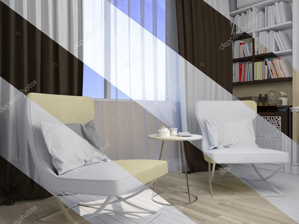 현대 고전 스타일의 거실 인테리어 디자인의 3d 렌더링 — 스톡 ...