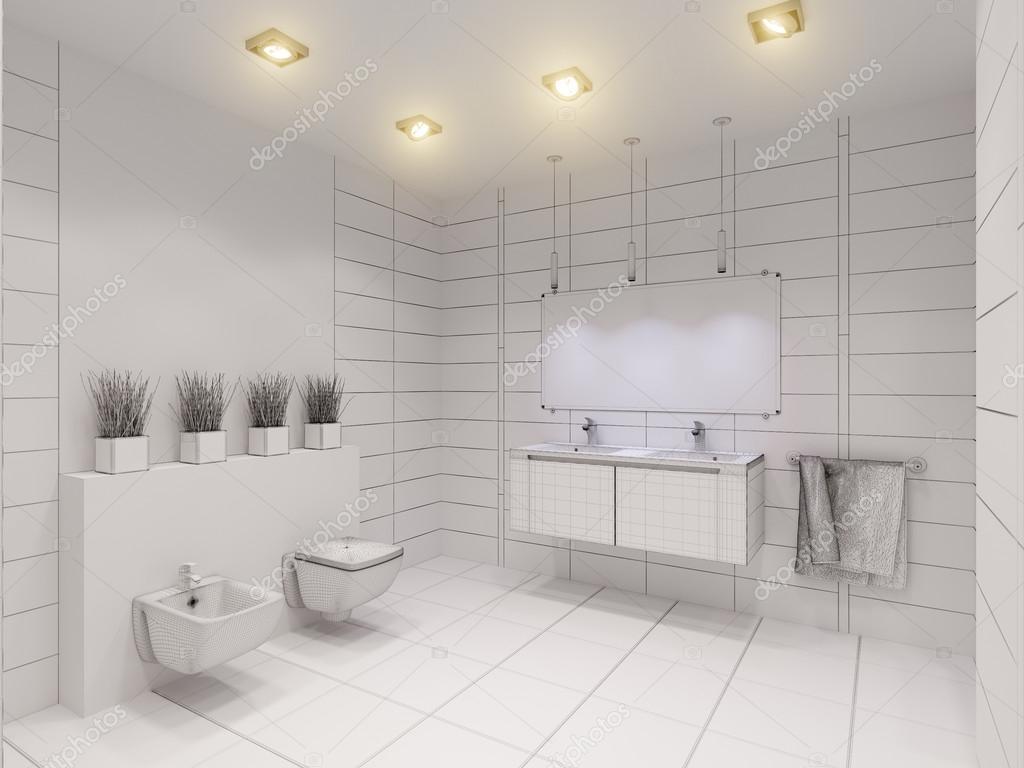 3d illustration av badrummet utan färg och texturer ...