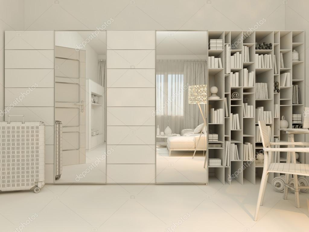 Visualizzazione 3d di vivere in un appartamento studio di interior ...