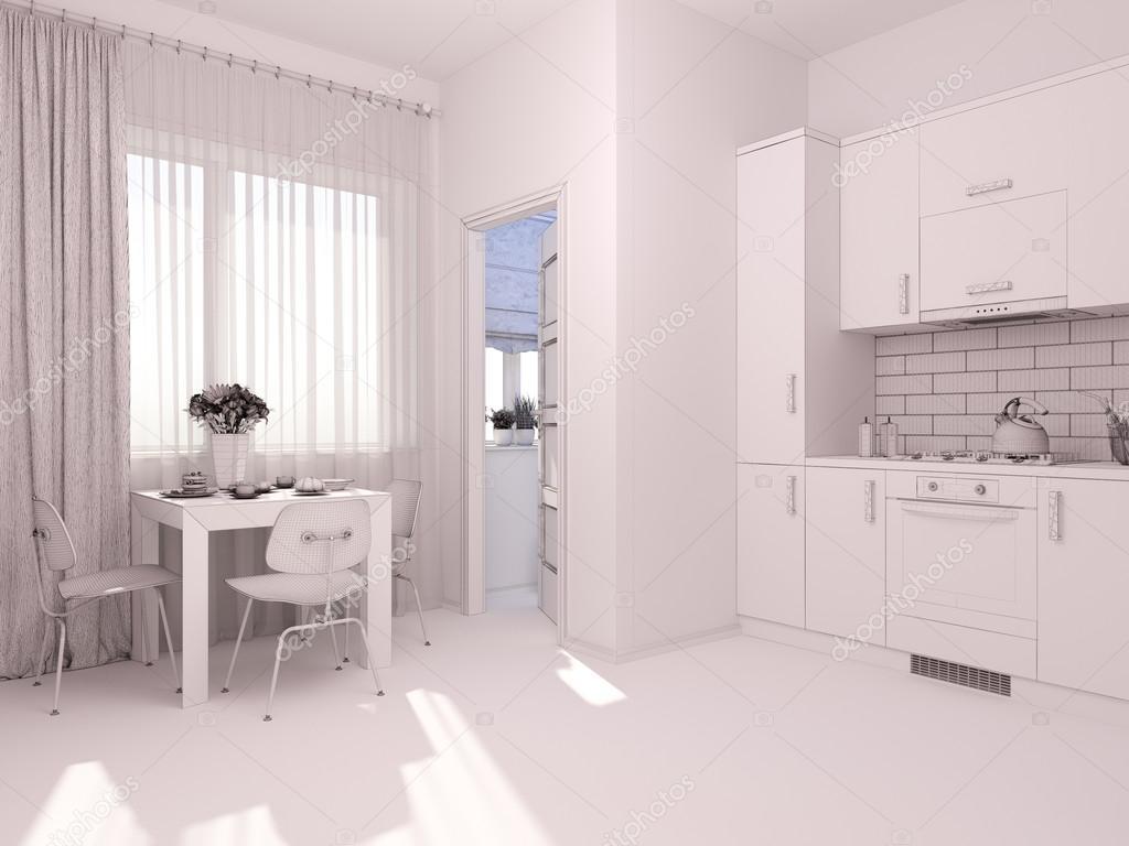 3d visualisering av inredning som bor i en lägenhet ...